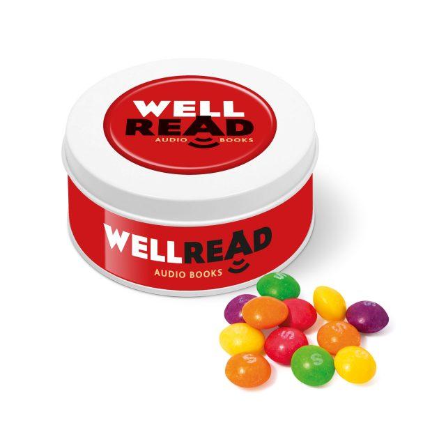 Treat Tin – White – Skittles