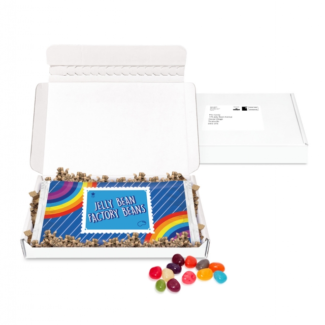 Postal Packs – Mini White Postal Box – Jelly Bean Flow Bag – DIGITAL PRINT