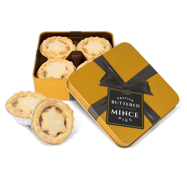 Winter Collection 2020 – Small Gold Square Tin – Mince Pies