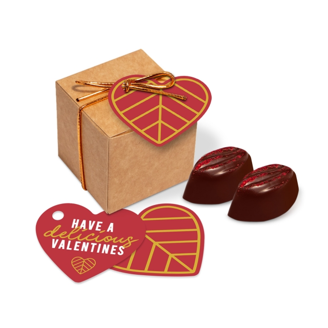 Valentines – Eco Kraft Cube – Cocoa Bean Truffles – Raspberry Cream
